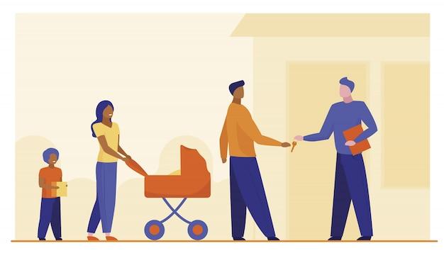 Familia comprando propiedad