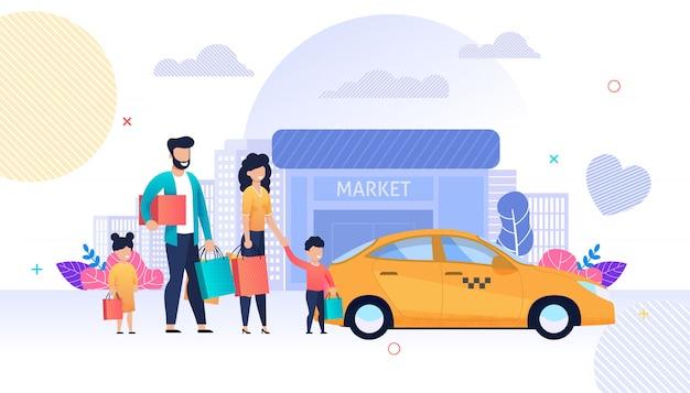 Familia de compras y servicio de taxi de dibujos animados plana
