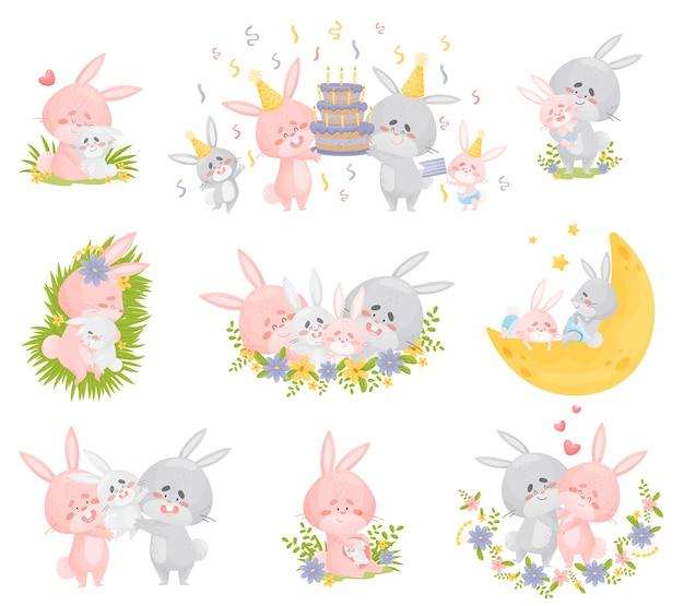 Familia de conejos humanizados en diferentes situaciones.