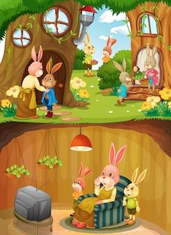 Familia de conejos en el subsuelo con la superficie del suelo de la escena del jardín