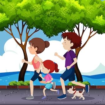 Familia corriendo en la carretera.
