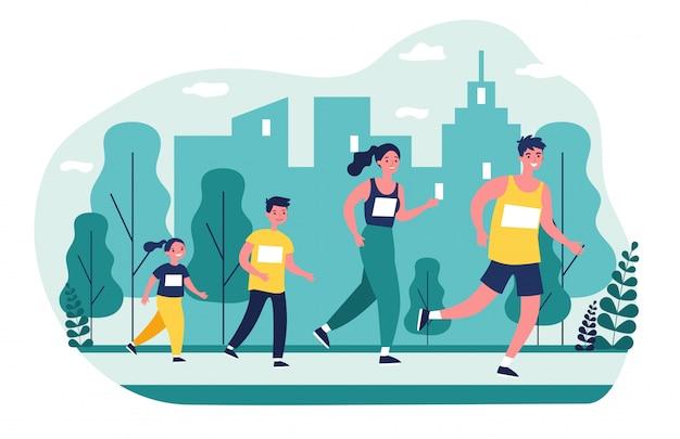 Familia corriendo en el parque de la ciudad