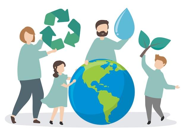 Familia cuidando el medio ambiente.