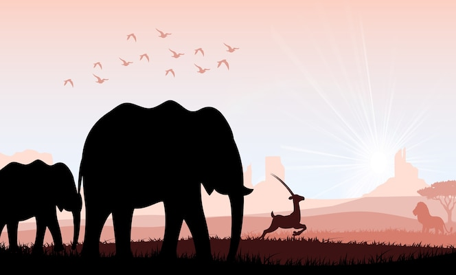 Familia de elefantes con ciervos y pájaros