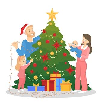 Familia decorando el árbol de navidad para la celebración. decoración tradicional de vacaciones para fiesta. gente feliz con regalos. ilustración