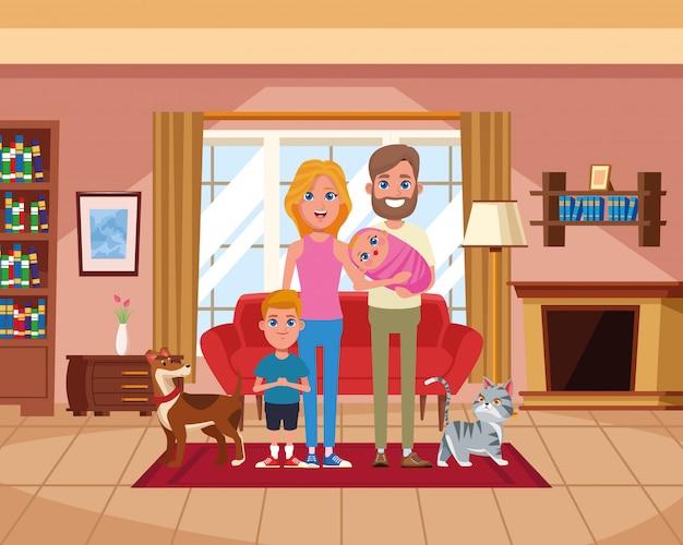 Familia dentro de casa dibujos animados de paisaje