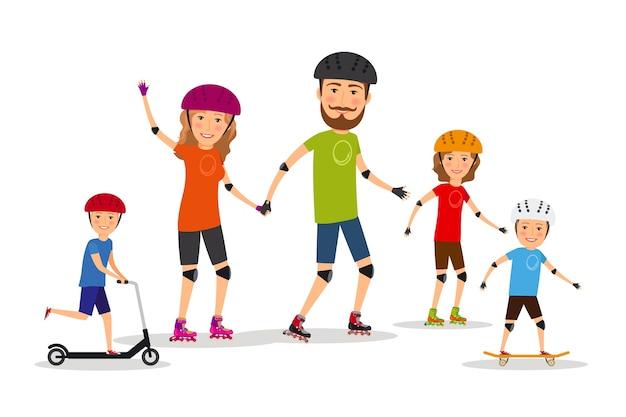 Familia deportiva. mamá, papá e hijos patinan. estilo de vida saludable, ilustración vectorial