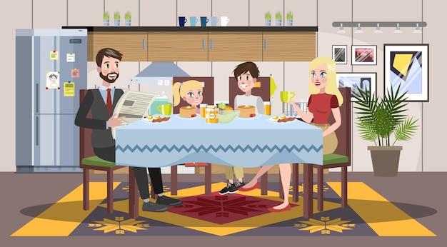 Familia desayunando en la mesa de la cocina. los padres y los niños felices comen juntos. padre y mamá, hijo e hija en el almuerzo o la cena. ilustración