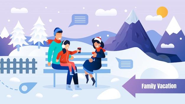 Con familia descansando en el banco en winter park