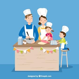Familia dibujada a mano cocinando todos juntos