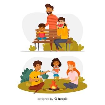 Familia dibujada a mano comiendo en el parque