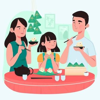 Familia dibujada a mano comiendo zongzi