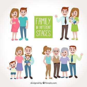 Familia dibujada a mano en distintas fases de la vida