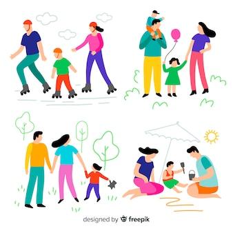 Familia dibujada a mano haciendo actividades al aire libre