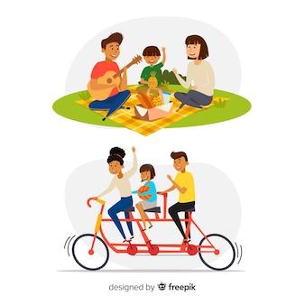 Familia dibujada a mano en el parque