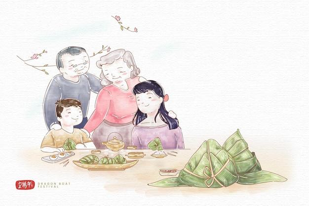 Familia dibujada a mano preparando y comiendo zongzi
