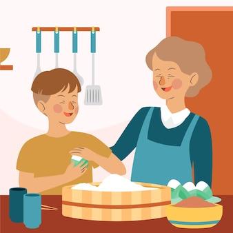 Familia dibujada a mano preparando zongzi