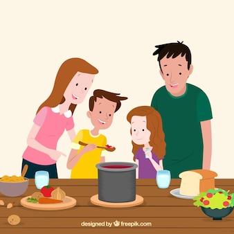 Familia dibujada a mano probando la comida