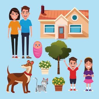 Familia y dibujos animados en casa