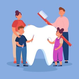 Familia de dibujos animados cuidando diente gigante