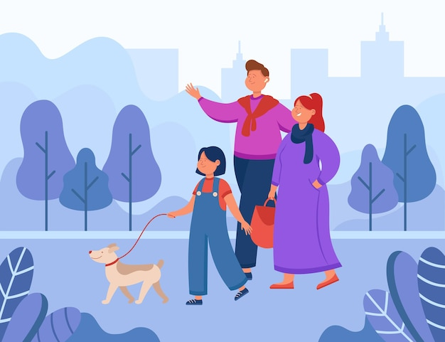 Familia de dibujos animados feliz paseando a un perro en el parque de la ciudad. ilustración plana