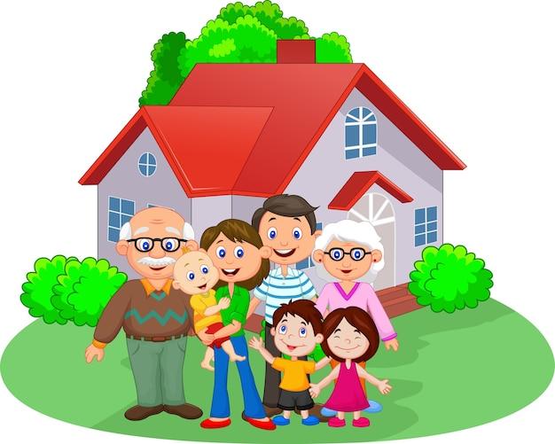 Familia de dibujos animados feliz