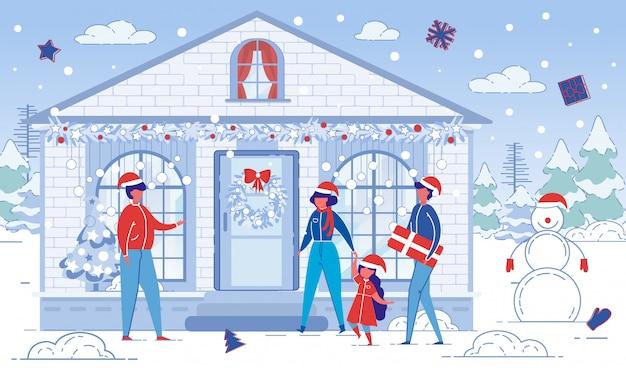 Familia de dibujos animados fuera de la casa en vacaciones de navidad