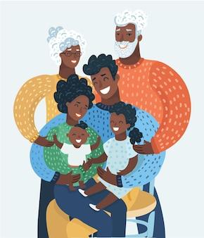 Familia de dibujos animados con madre, padre, abuelo, abuela o abuela de pelo rizado, o abuelo, hija, niño, bebé, niño.