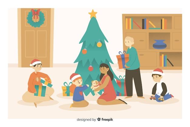 Familia de dibujos animados de navidad abriendo regalos