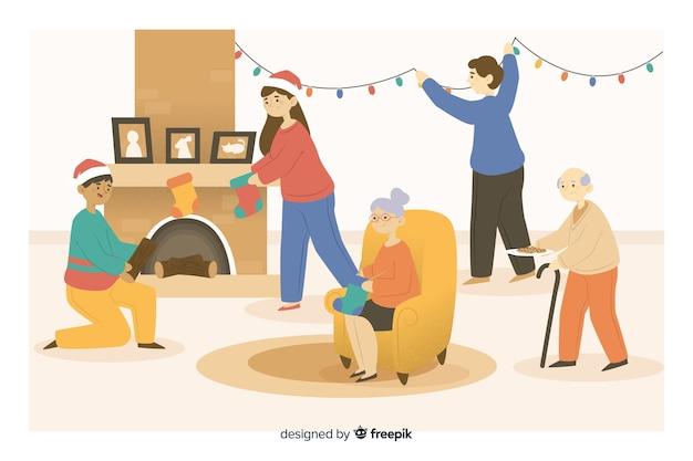Familia de dibujos animados de navidad preparando decoración