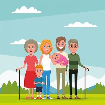 Familia con dibujos animados de niños