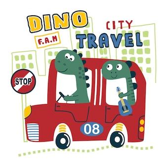 Familia de dinosaurios en el coche divertidos dibujos animados de animales