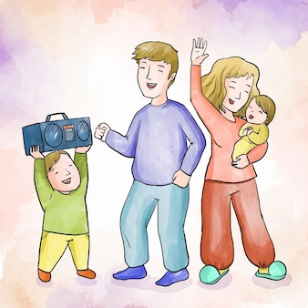 Familia disfrutando el tiempo juntos bailando