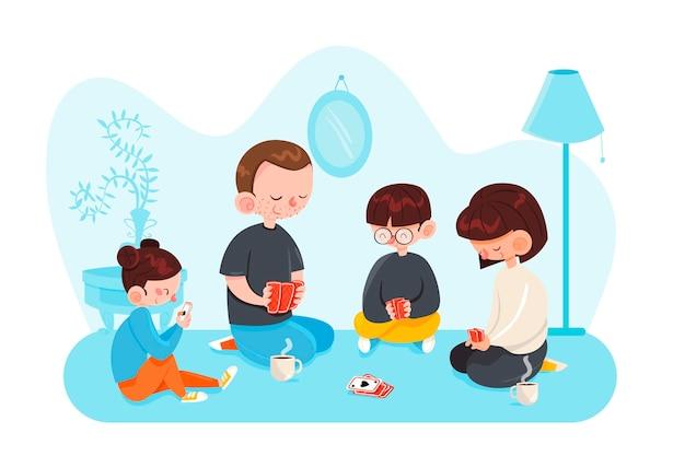 Familia disfrutando el tiempo juntos concepto