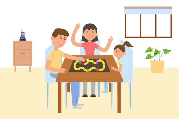 Familia disfrutando el tiempo juntos jugando juegos de mesa