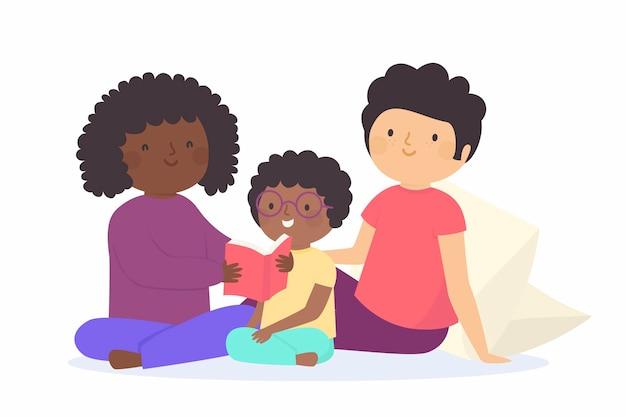 Familia disfrutando el tiempo juntos leyendo el libro