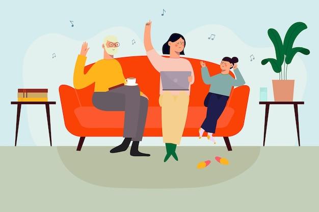 Familia disfrutando el tiempo juntos mientras se quedan en su sofá