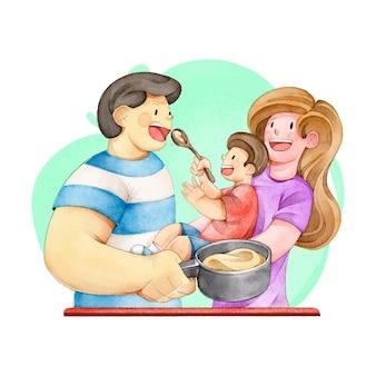 Familia disfrutando el tiempo juntos