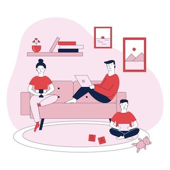 Familia con dispositivos digitales ilustración vectorial plana