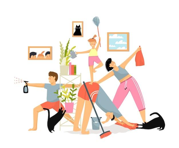 Familia divertida humorística en casa limpieza interior y haciendo ejercicio concepto