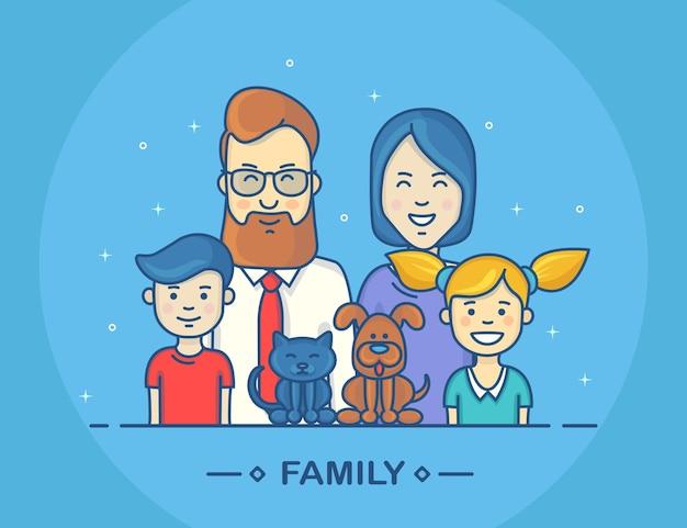 Familia divertida. madre, padre, hermano y hermana, perro y gato.