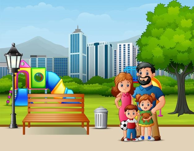 Familia de divertidos dibujos animados en el parque de la ciudad.
