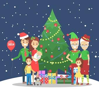 Familia divertirse juntos en el árbol de navidad sobre fondo de invierno. decoración navideña tradicional y vestuario para fiesta. gente feliz con regalos de celebración. ilustración