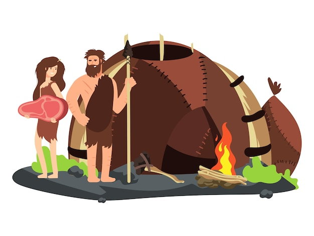 Familia de la edad de piedra con chimenea y hogar