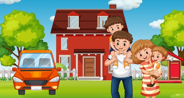 Familia enfrente de casa
