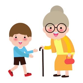 Familia feliz abuela y nieto, niños voluntarios ayudando a la abuela caminando, cuidado de ancianos, cuidador ayudando a mujer mayor retrato ilustración de personaje.