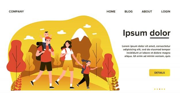 Familia feliz activa viajando juntos en la ilustración plana de montañas. padre, madre e hijos caminando y acampando con mochila en la naturaleza. concepto de viaje y vacaciones.