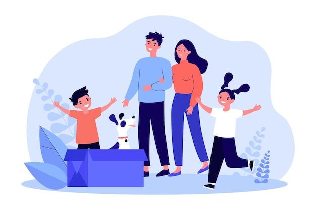 Familia feliz adoptando lindo perro sentado en caja de cartón. los padres y los niños sonriendo mientras miran la ilustración de vector plano de cachorro sin hogar. familia, mascotas, concepto de adopción para banner, diseño de sitios web