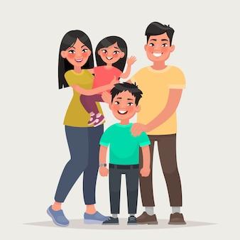 Familia feliz asiática papá, mamá, hija e hijo juntos.