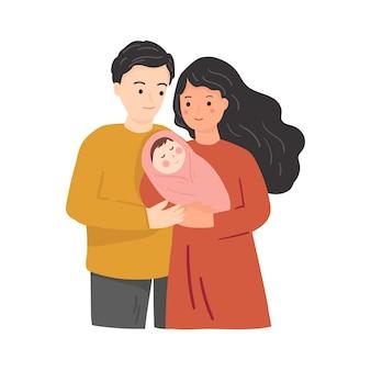 Familia feliz con bebé recién nacido. ilustración de dibujos animados plana
